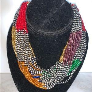 Bead Necklace Multi Strand Vibrant